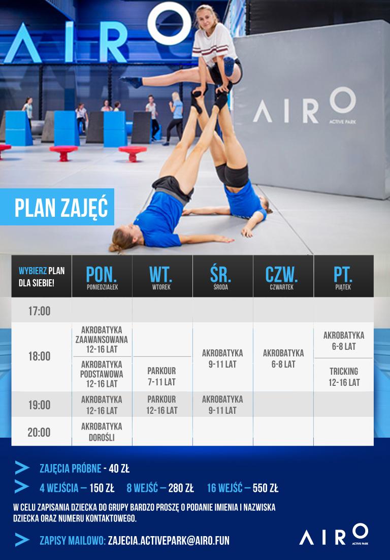 Plan zajęć w Parku Trampolin Airo Warszawa
